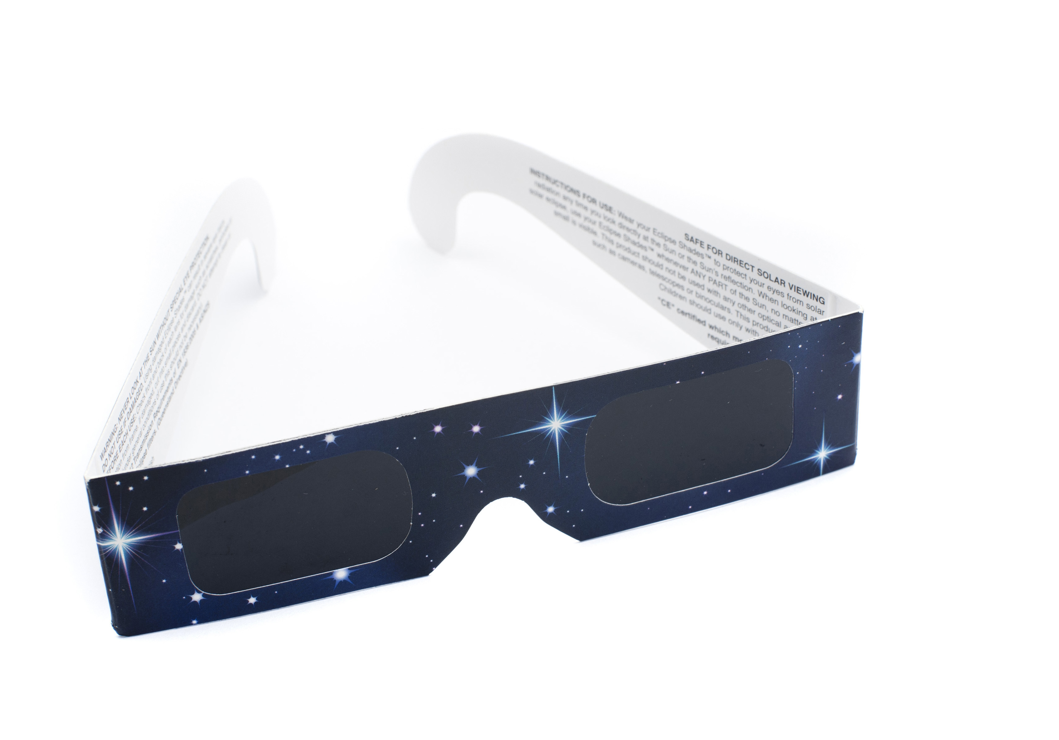Eclipse viewing glasses with very dark lenses incorporating a special filter to protect the human eye from the intense light of the sun when viewing an eclipse, isolated on white