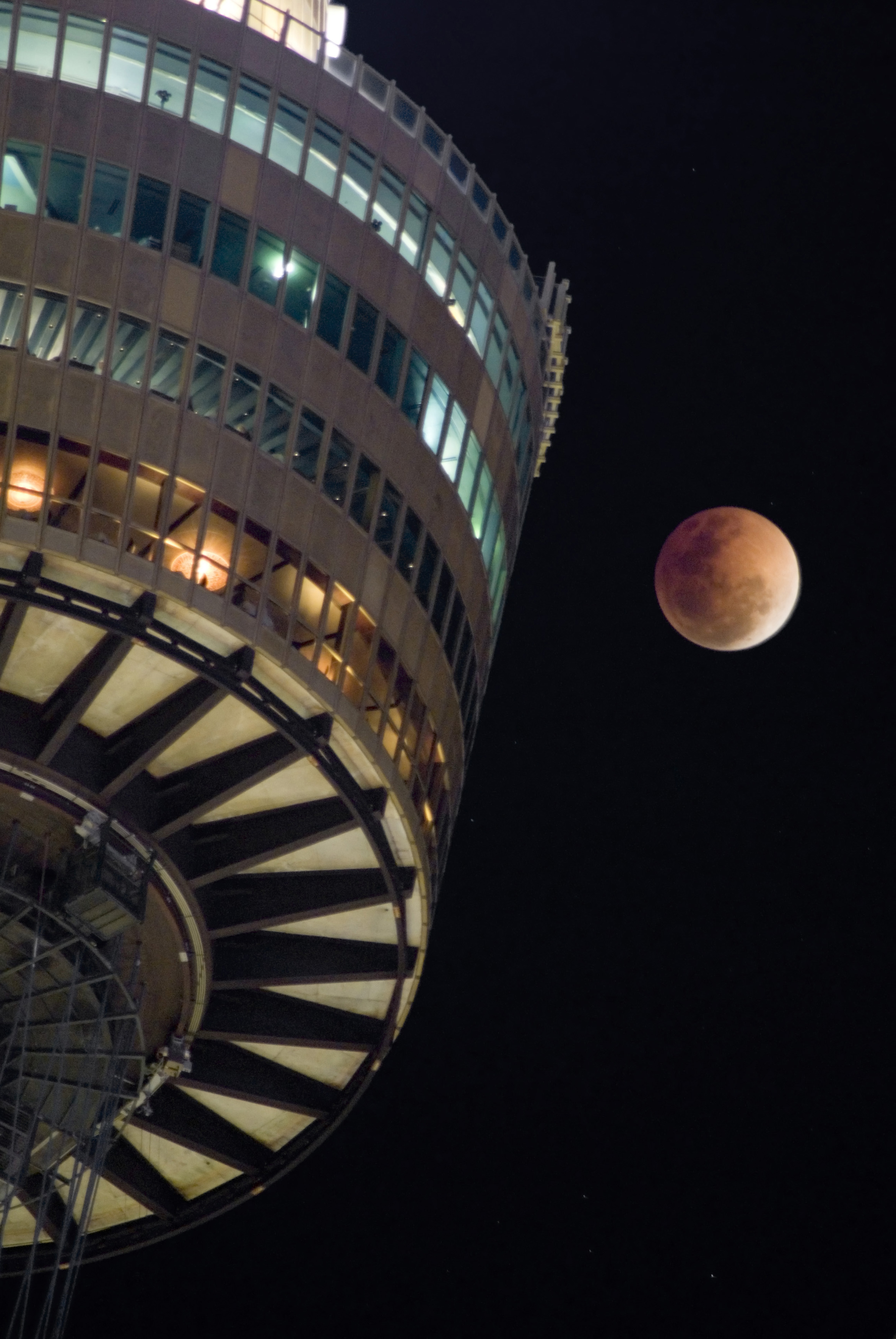 coppery coloured moon during a lunar eclipse
