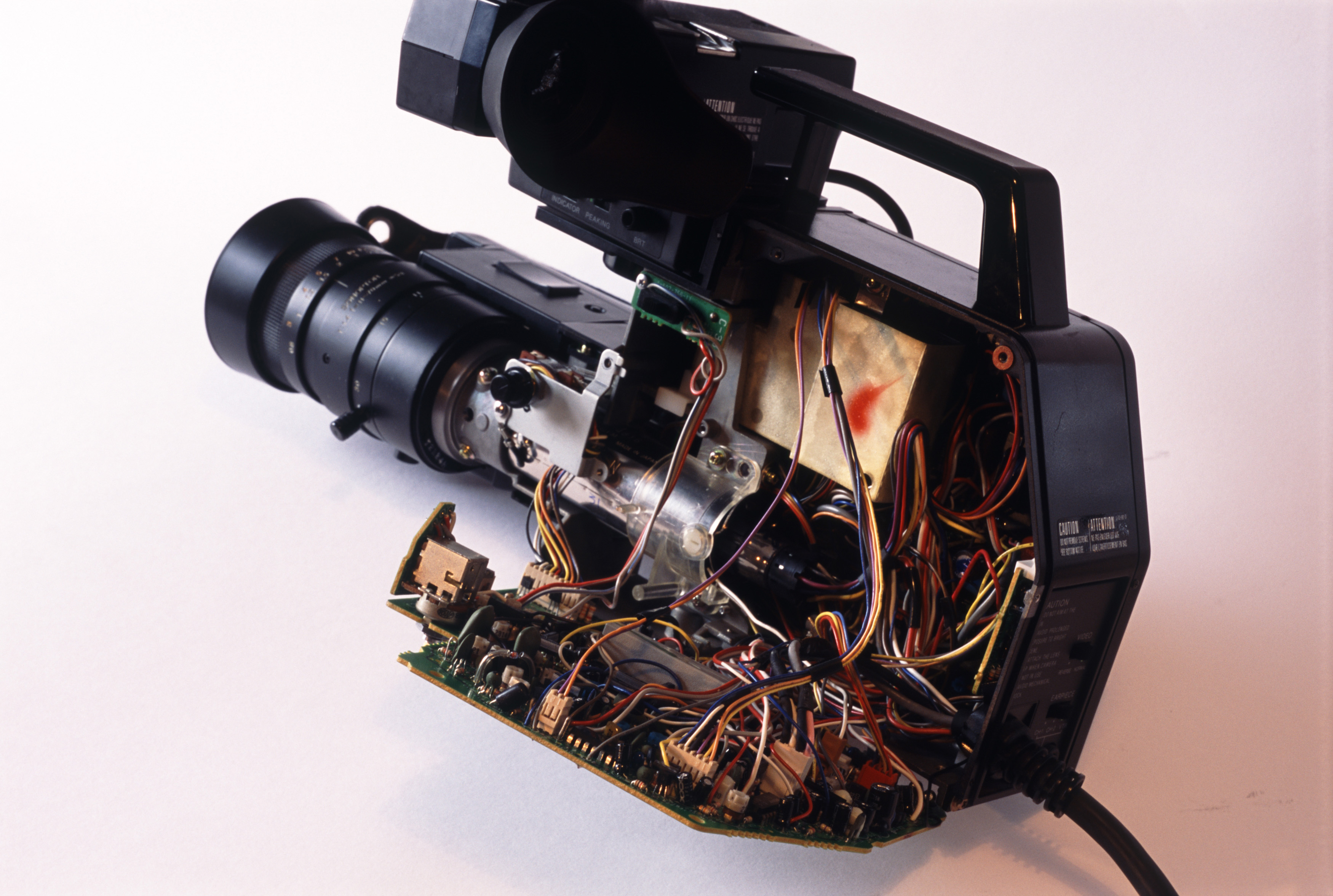 a video camera from the days before CCD sensors, containing a glass videcon tube to create a video image