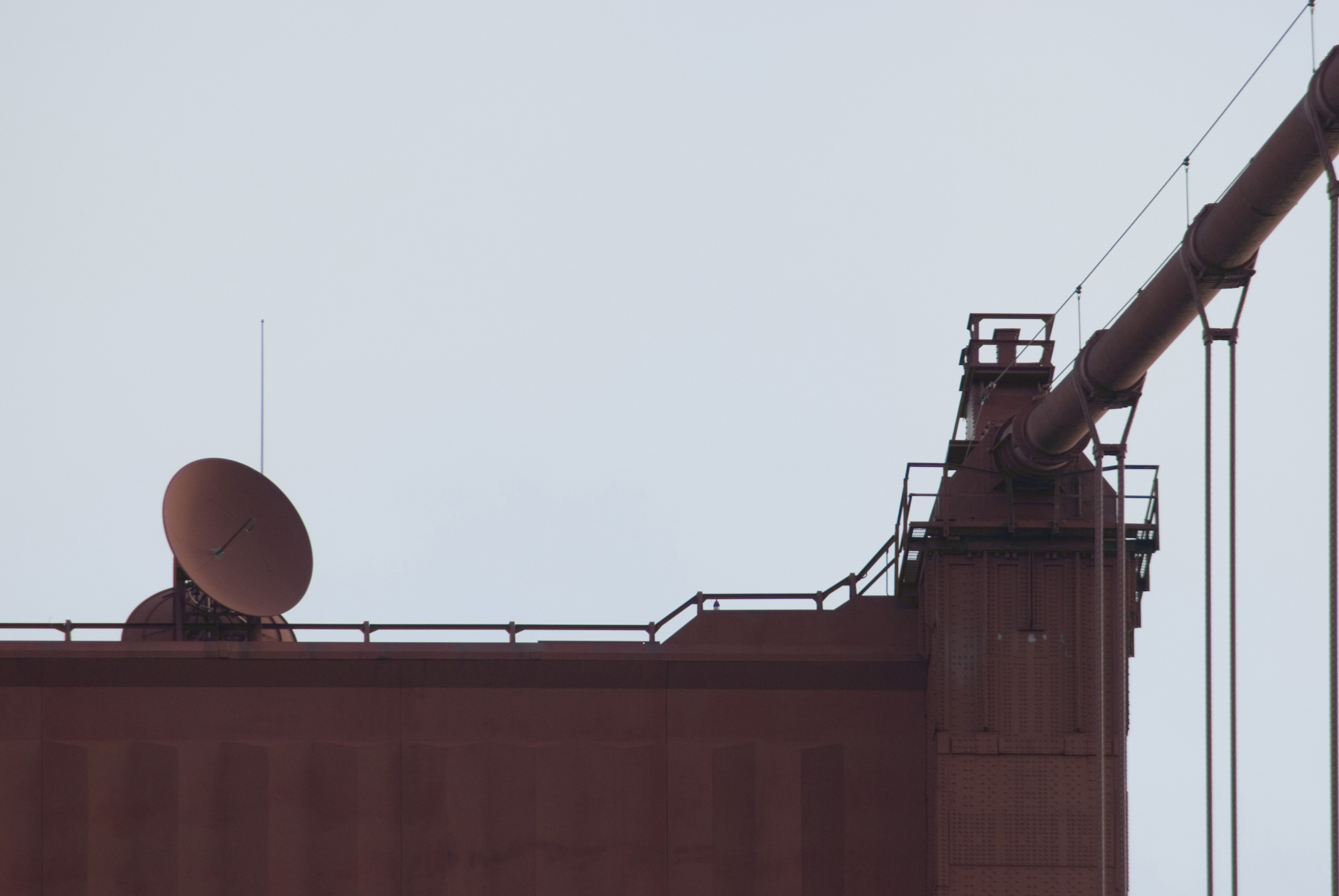 looking up at the south tower, golden gate bridge,the microwave communications dishes placed on the structure are painted the match the colour of the bridge instead of the usual white colour - why are they normally coloured white?