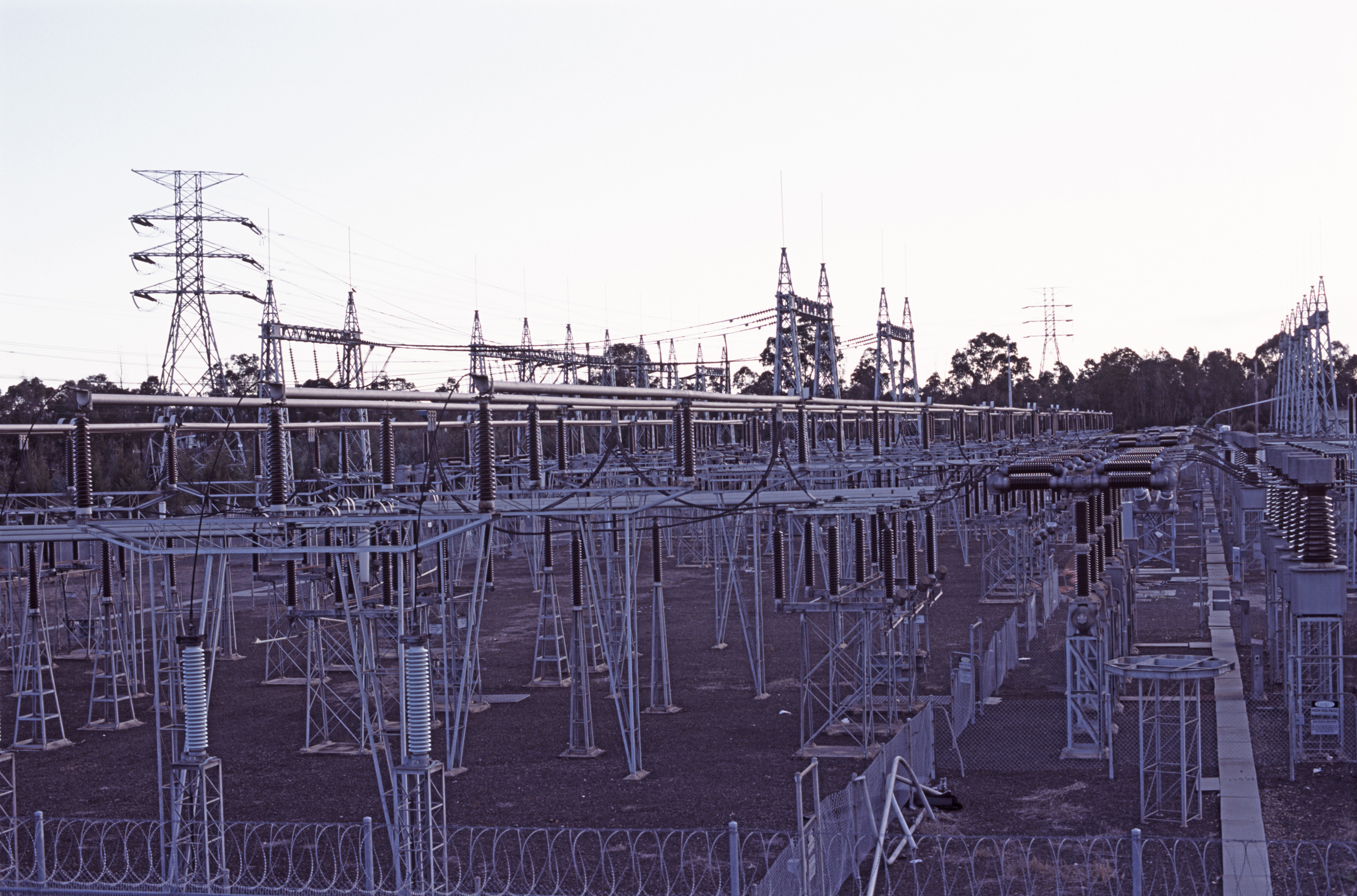 a large electricity distribution switching station. equipment allows power to be routed in different ways and to isolate transmission lines under fault conditions