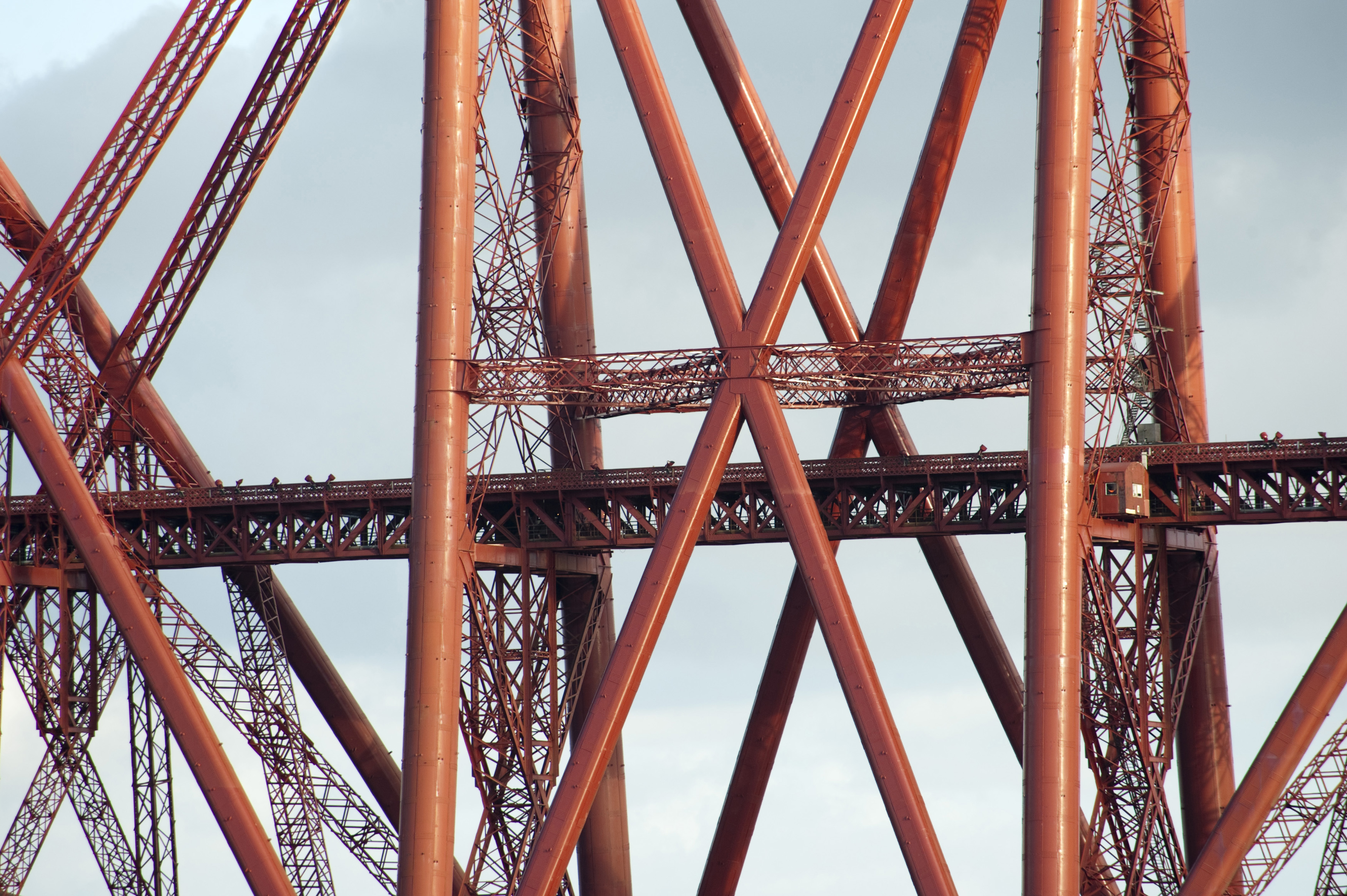 closeup on the structure of one of the towers on the forth rail bridge, a marvel of the victorian engineering era