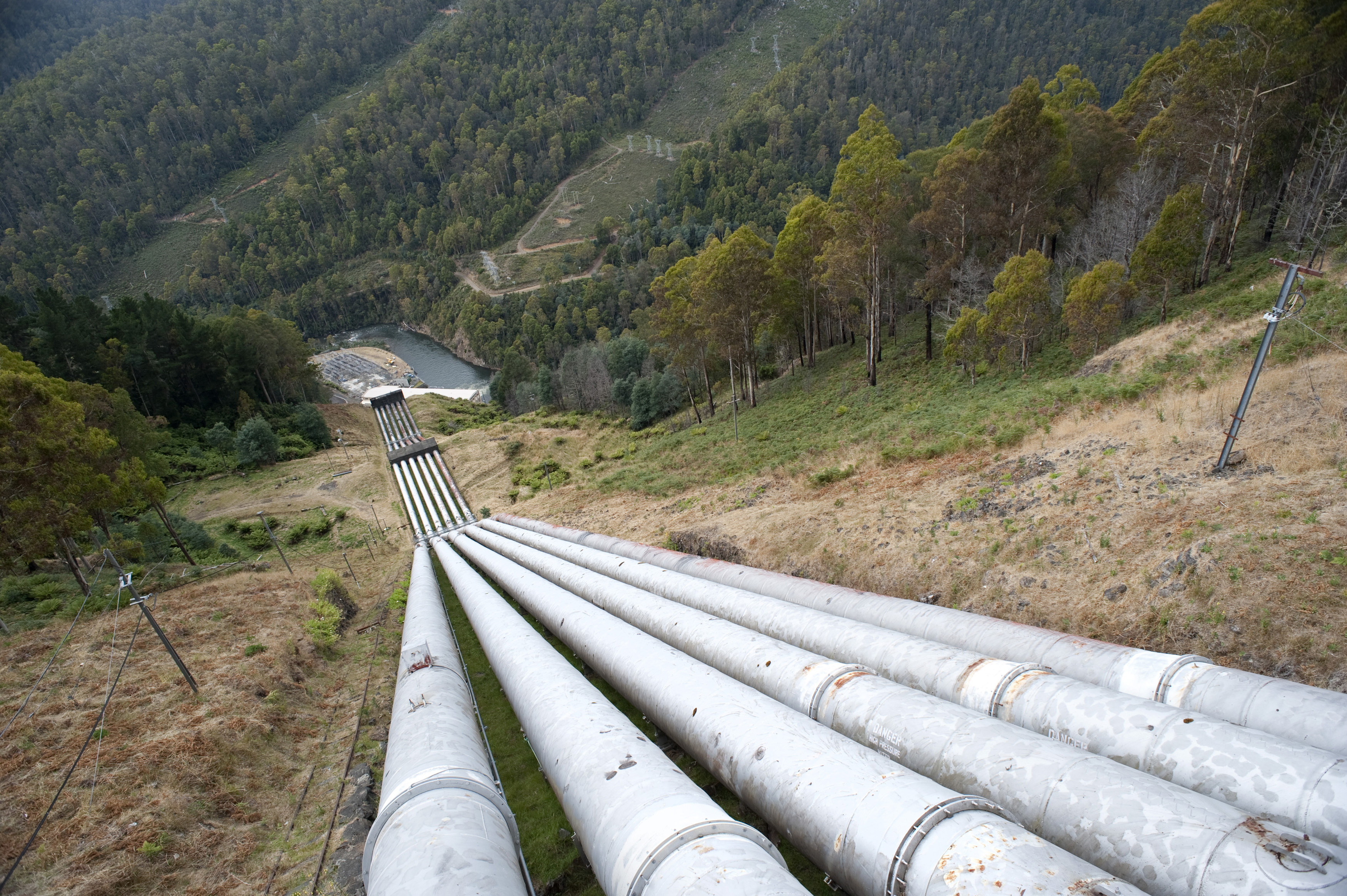 View of a series of water pipes at the Tarraleah Power Station, a hydroelectric power station on the Upper Derwent River in Tasmania