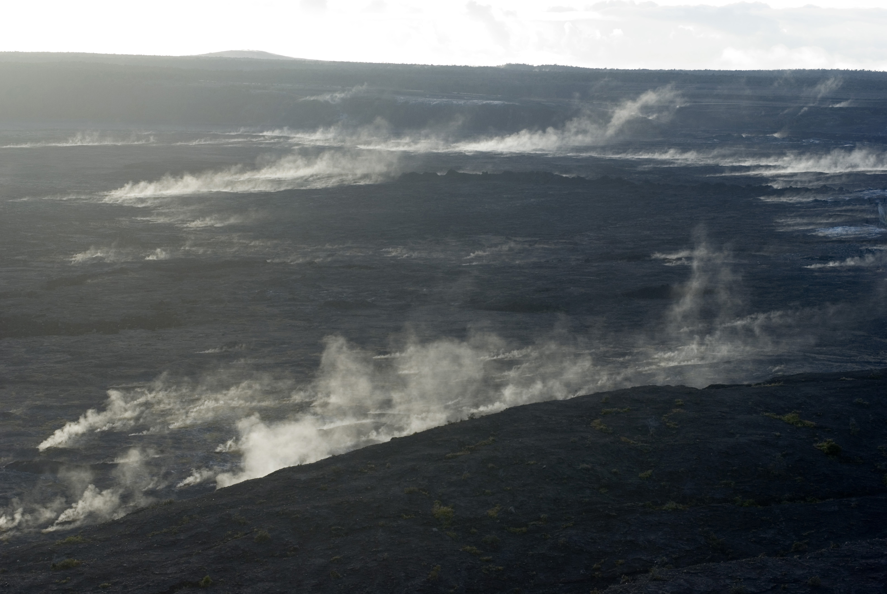 volcanic smoke and gasses rising from the kilauea caldera on hawaiis big island