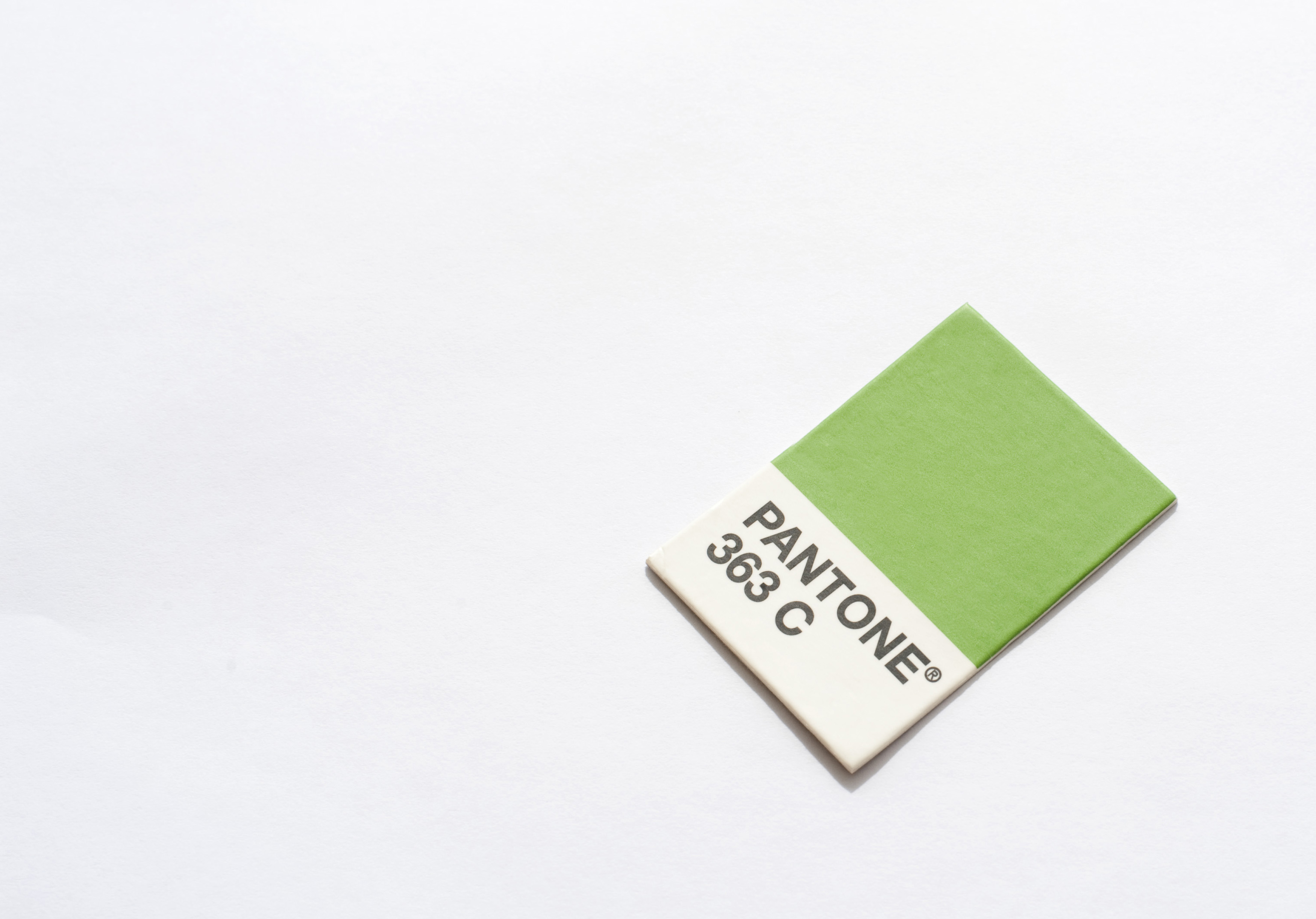 Pantone green color swatch 363 C. the pantone system is used to allow designers to match printed colours precisely